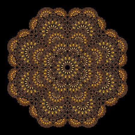 Elegant lace table napkin with popular ornament done in kaleidoscopic style. Printable modern mandala on black background. Geometric circle vector image. Stock Illustratie