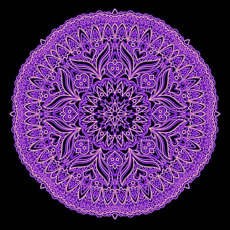 Elegant lace table napkin with popular ornament done in kaleidoscopic style. Printable modern mandala on black background. Geometric circle vector image. Illusztráció