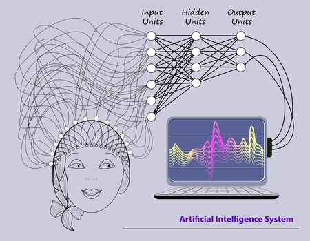 Stylized activity in human brain with deep neural networks. Artificial Intelligence System. High tech digital technology. Print for scientific research in biology, physics and nanotechnologies.