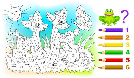 Math education for children. Coloring book. Mathematical exercises on addition and subtraction. Solve examples and paint the deer. Developing counting skills. Printable worksheet for kids textbook. Illusztráció