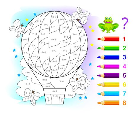 Math education for children. Coloring book. Mathematical exercises on addition and subtraction. Solve examples and paint air balloon. Developing counting skills. Printable worksheet for kids textbook.