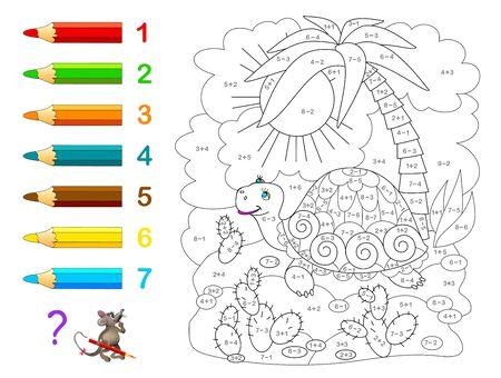 Educación matemática para niños. Libro de colorear. Ejercicios matemáticos de suma y resta. Resuelve ejemplos y pinta la tortuga. Desarrollar habilidades para contar. Hoja de trabajo imprimible para libros de texto para niños.