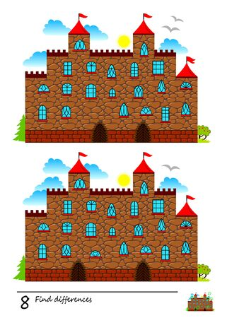 Find 8 differences. Logic puzzle game for children and adults. Printable page for kids brain teaser book. Illustration of fairy tale medieval castle. Developing counting skills. IQ training test.