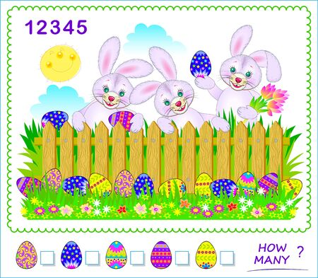 Math education for children. How many Easter eggs can you find? Count quantity and write numbers in squares. Developing counting skills. Printable worksheet for kids textbook. Logic puzzle game.