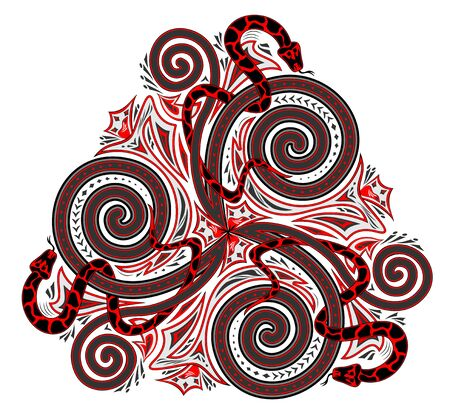 Fantasy drawing of Celtic popular ornament of trickle symbol and interweaving snakes. Printable template for modern print, embroidery, Henna, tattoo, decoration. Geometric circle triple spiral.