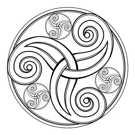 Fantasy drawing of amazing Celtic disk ornament of scrolling trickle symbol. Breton folk ethnic sign. Printable black and white template for print, logo or icon. Geometric circle triple spiral.