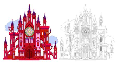 Colorful and black and white pattern for coloring. Fantasy illustration of ancient medieval Gothic castle with rose, towers, gates. Worksheet for coloring book for children and adults. Vector image.