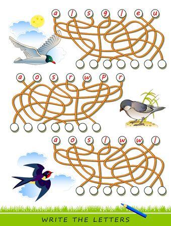 Juego de rompecabezas de lógica para estudiar inglés con laberinto. Encuentra los lugares correctos y escribe las letras. Lea las palabras. Aprenda los nombres de las aves. Hoja de trabajo imprimible para libros de texto para niños. De vuelta a la escuela. Imagen vectorial.