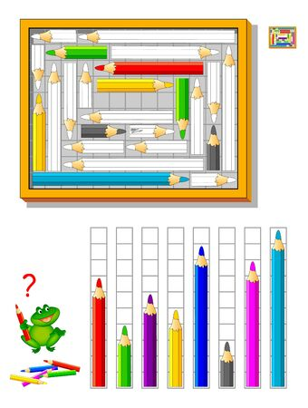 Math education for kids. Logic puzzle game. Coloring book. Count quantity of squares and paint pencils correctly. Printable worksheet for school textbook. Developing children spatial thinking skills.