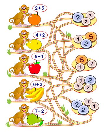 Math education for children. Solve examples, count the price for each fruit and draw the way till correct coins. Exercises on addition and subtraction. Printable worksheet for kids book. Logic puzzle. Illusztráció