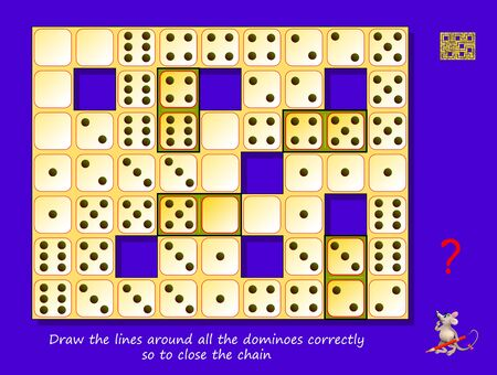Logic puzzle maze game for children and adults. Draw the lines around all the dominoes correctly so to close the chain. Printable page for kids brain teaser book. Developing spatial thinking skills. Illusztráció