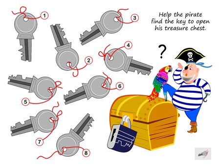 Logic puzzle game for children and adults. Help the pirate find the key to open his treasure chest. Printable page for kids brain teaser book. Developing spatial thinking. Vector cartoon image.