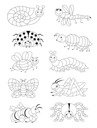 Black and white page for baby coloring book. Set of different cute insects. Printable template for kids. Worksheet for children and adults. Hand-drawn vector image. Illusztráció