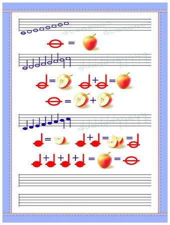 Educational page for little children to study the duration of musical notes. Developing tracing, counting and writing skills. Printable worksheet for kids music school textbook. Vector image. Illusztráció
