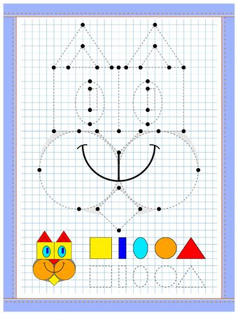Educational page for kids to study geometrical figures. Join points  and paint image corresponding colors. Printable worksheet on square paper for children. School math textbook. Baby coloring book. Illusztráció