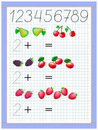 Math education for children. Exercises on addition. Count the quantity and write number of fruits. Developing counting and tracing skills. Printable worksheet on square paper for kids school textbook.