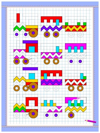 Educational page for kids. Printable worksheet on square paper for children. Paint trains so that all are identical. Developing counting and tracing skills. School math textbook. Baby coloring book. Illusztráció