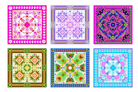 Set aus 6 verschiedenen quadratischen Ornamenten im kaleidoskopischen Stil. Schöner Hintergrund für Kissen, Serviette, Bettdecke. Moderner Druck mit beliebter Volksdekoration. Flaches geometrisches Vektorbild.