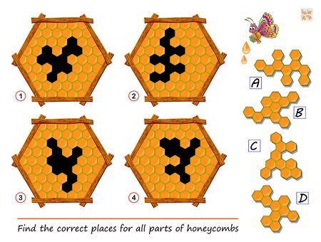 Logic puzzle game for children and adults. Find the places for all parts of honeycombs. Printable page for kids brain teaser book. Developing spatial thinking skills. IQ training test. Vector image.