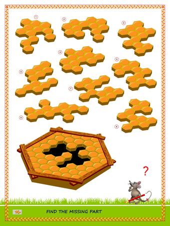 Logic puzzle game for children and adults. Find the missing part of honeycombs. Printable page for kids brain teaser book. Developing spatial thinking skills. IQ training test. Vector image.