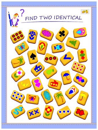 Logic puzzle game for children and adults. Need to find two identical magic cards. Printable page for kids brain teaser book. Developing spatial thinking skills. IQ training test. Vector cartoon image. Illustration