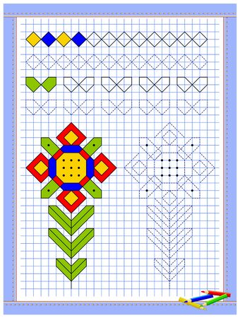 Educational page for kids. Printable worksheet on square paper for children. Learn to draw geometrical figures. Developing coloring and tracing skills. School math textbook. Baby coloring book. Illustration