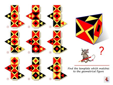 Logic puzzle game for smartest. Find the template which matches to the geometrical figure. Printable page for brain teaser book. Developing spatial thinking. IQ training test. Flat vector image.