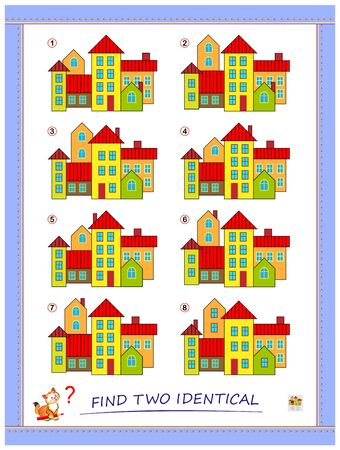 Logic puzzle game for children and adults. Find two identical group of houses. Printable page for kids brain teaser book. Developing spatial thinking skills. IQ test. Flat vector cartoon image.