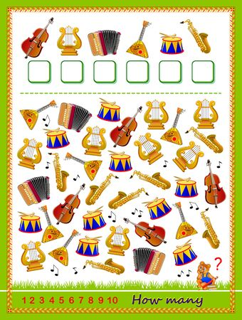 Math education for children. Logic puzzle game. Count quantity of musical instruments and write numbers. Developing counting skills. Printable worksheet for kids book. IQ test. Vector cartoon image. Çizim