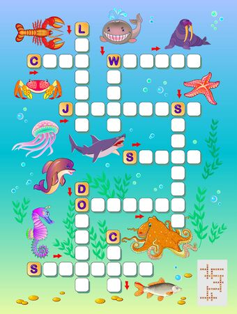 Crossword puzzle game for kids with sea animals. Educational page for children to study English language and words. Printable worksheet for kids textbook. Back to school. Vector cartoon image.
