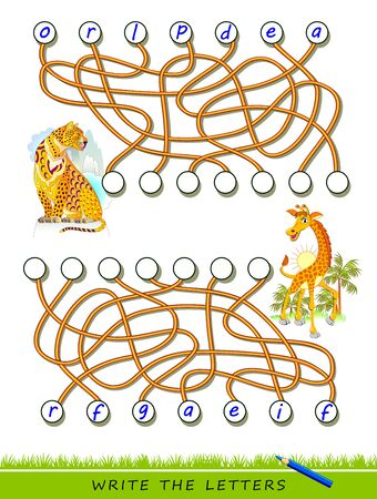 Logic puzzle game for study English with labyrinth. Find correct places and write the letters. Read the words. Learn names of exotic animals. Printable worksheet for kids textbook. Back to school.