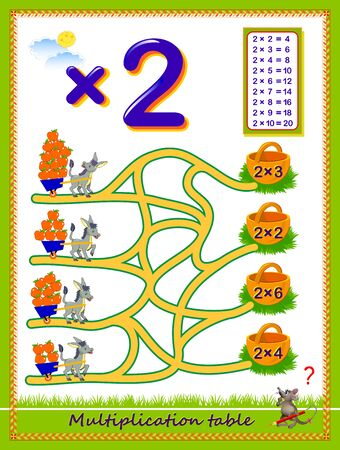 Multiplication table by 2 for kids. Count the quantity of apples, find the way and draw lines till baskets. Educational page. Logic puzzle game. Printable worksheet for children math textbook. Çizim
