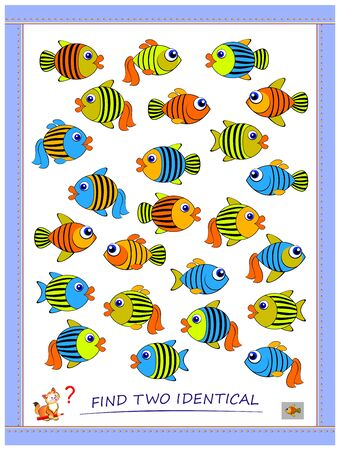 Logic puzzle game for children and adults. Find two identical fishes. Printable page for kids brain teaser book. Developing spatial thinking skills. IQ training test. Flat vector cartoon image.