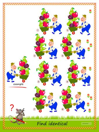 Logic puzzle game for children and adults. Find reflection of gardener identical the example. Printable page for kids brain teaser book. IQ training test. Flat vector cartoon image.