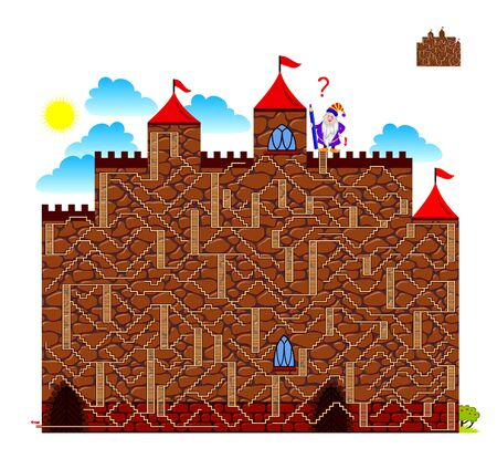 Logic puzzle game with labyrinth for children and adults. Help the dwarf find the way to get down from castle. Printable worksheet for kids brain teaser book. IQ training test. Vector cartoon image.