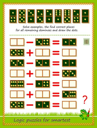 Logic puzzle game for children and adults. Solve examples, find correct place for all remaining dominoes and draw the dots. Printable page for kids brain teaser book. Developing math skills. IQ test. Çizim