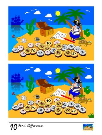 Find 10 differences. Logic puzzle game for children and adults. Printable page for kids brain teaser book. Illustration of pirate on treasure island. Developing counting skills. IQ training test. Illustration