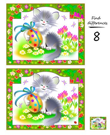 Find 8 differences. Logic puzzle game for children and adults. Printable page for kids brain teaser book. Illustration of cute kitten with Easter egg. Developing counting skills. IQ training test.