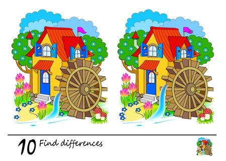 Find 10 differences. Logic puzzle game for children and adults. Printable page for kids brain teaser book. Illustration of a fairyland water mill. Developing counting skills. IQ test. Vector image.