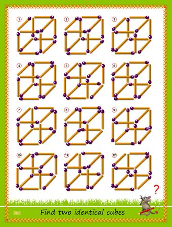Logic puzzle game for children and adults. Find two identical cubes from matches. Printable page for kids brain teaser book. Developing spatial thinking skills. IQ training test. Vector cartoon image.