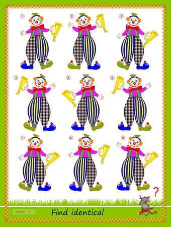 Logic puzzle game for children and adults. Find two identical clowns. Printable page for kids brain teaser book. Developing spatial thinking skills. IQ training test. Flat vector cartoon image.
