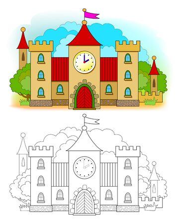 Colorful and black and white template for coloring. Illustration of medieval castle. Kids education. Worksheet for coloring book for children and adults. Flat vector cartoon image.