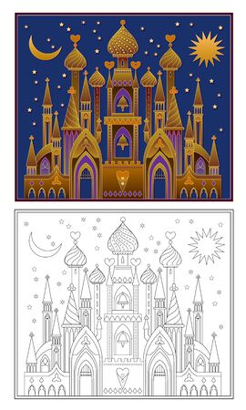 Colorful and black and white template for coloring. Illustration of fairyland medieval kingdom. Kids education. Worksheet for coloring book for children and adults. Flat vector cartoon image. Çizim
