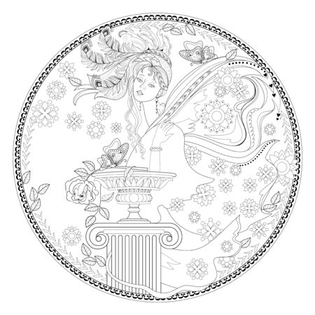 Fantasy portrait of beautiful fairy tale princess on antique medallion. Black and white page for coloring book. Modern print for fashion, beauty, embroidery, decoration. Hand-drawn vector image.