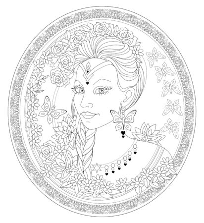 Fantasy portrait of beautiful fairy tale queen on antique medallion. Black and white page for coloring book. Modern print for fashion, beauty, embroidery, decoration. Hand-drawn vector image.