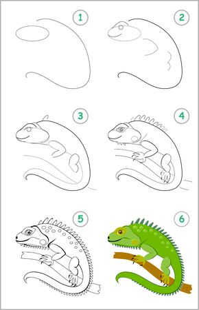 How to draw step by step cute green iguana. Educational page for kids. Back to school. Developing children skills for drawing and coloring. Printable worksheet for baby book. Vector cartoon image.