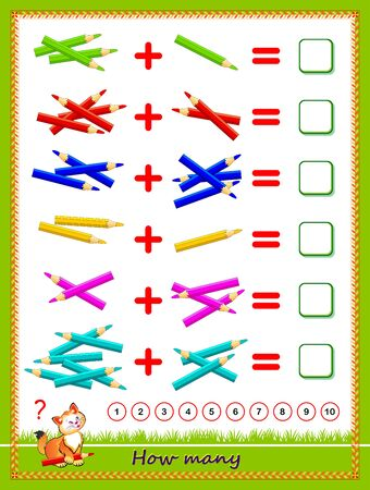 Educational page for little children on addition. Solve examples, count the quantity of pencils and write the numbers. Printable worksheet for kids math school textbook. Flat vector cartoon image.