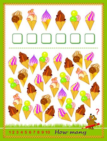 Math education for children. Count quantity of ice creams and write numbers. Developing counting skills. Printable worksheet for kids textbook. Logic puzzle game. IQ test. Flat vector cartoon image.