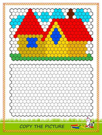 Educational page for kids. Copy picture. Printable worksheet for children school textbook. Draw and paint the houses by example. Developing coloring and counting skills. Baby coloring book. IQ test.