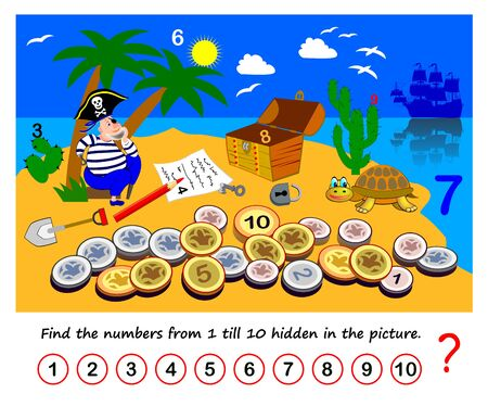 Math education for children. Logic puzzle game. Find the numbers from 1 till 10 hidden in picture. Developing counting skills. Printable worksheet for kids. Illustration of pirate on treasure island. Çizim